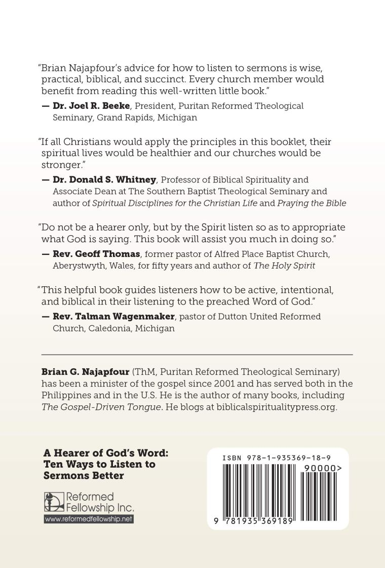 A Hearer of God's Word (back cover)